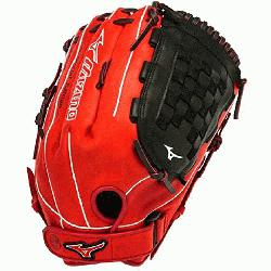 uno GMVP1400PSES3 Slowpitch Softball Glove 14 inch (Red-Blac